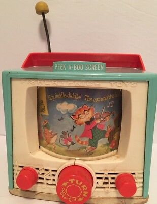 Vintage 1964 Fisher Price #196 Peek A Boo TV Music Box Toy Hey Diddle Diddle