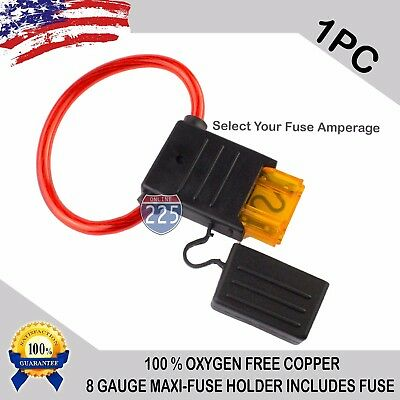 1 Piece 8 Gauge MAXI Inline Blade Fuse Holder 100% OFC Copper Wire + 30A - 120A