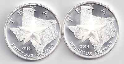 2 -2014 Uncirculated Silver Texas Rounds. 1-Troy oz. .9999 Silver each.