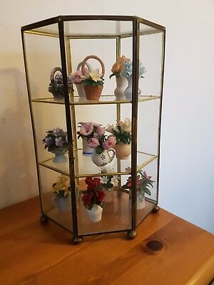 Franklin Mint 'flowers Of The Year' Collection With Glass Display Cabinet