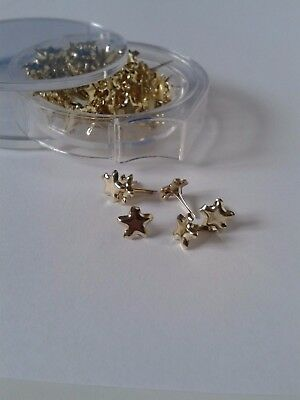 80 x Gold Mini Star Brads for Christmas Crafts