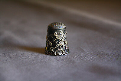 Beautiful Vintage Sterling Silver Ornate Flowers and Vines Thimble Mexico 925