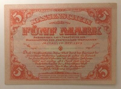 Latvia Lettland Russia Germany Mitau 5 Mark West Army 1919 UNC -