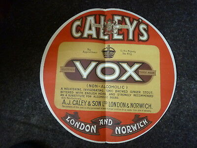 very old barrel label - Caley`s Vox Ginger Stout London & Norwich