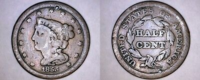1855 United States Braided Hair Half (1/2) Cent - Holed