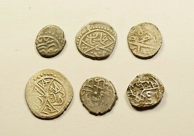 Nice Quality - Lot Of 6 Ancient Silver Ottoman Islamic Turkey Coins - 005