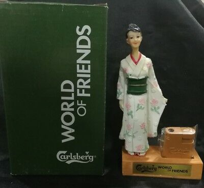 Old Carlsberg Beer World of Friends Japan lighter with figure mint in box