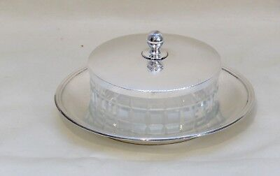 Asian Export .995 Sterling Silver Covered Cavier ~Butter Dish w Cut Glass Liner