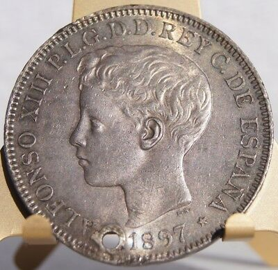1897-SGV Philippino 1 Peso World Silver Coin - Philippines Spanish Admin - Holed