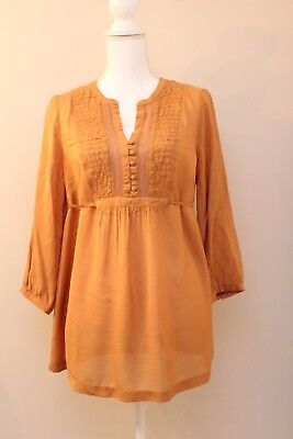 Old Navy Maternity Size M 3/4 Sleeve Sheer Blouse Tunic Mustard Gold Yellow