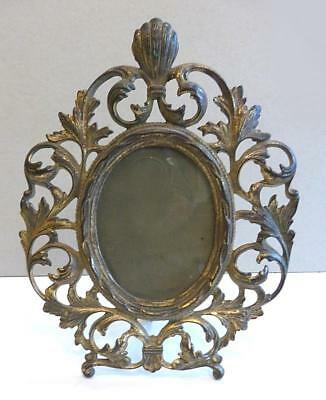 Elegant Victorian Baroque Oval Gilt Cast Iron Standing Picture Frame