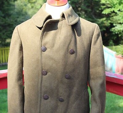 """Original US Army WWI Green Wool Overcoat Chest Size 42"""""""