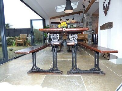 Reclaimed Antique industrial church/Chapel pew benches/table cast IronSolid Wood