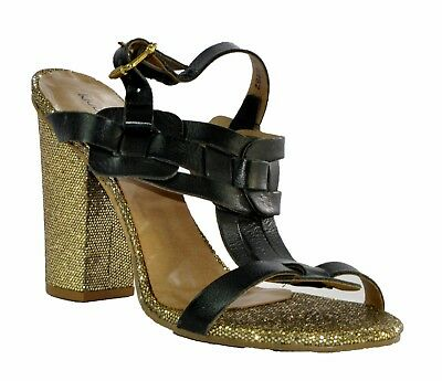 442c58464ce Klub Nico Women s Open Toe Leather Sparkling Gold Heel Slingback Sandals  Black 8