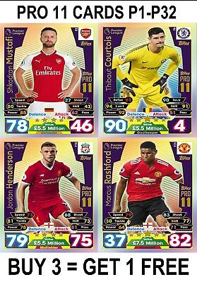 Match Attax 17/18 PRO11 P1-P32 Cards 2017/2018 2017/18 Limited Edition 100 Club