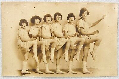 Real Photo Postcard Children Dance Actress Group Lotus Lilies Girl Hair Art Deco