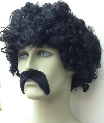 Black Tight Curly Fancy Dress Wig & Thick Droop Black Moustache. Self Adh. Uk