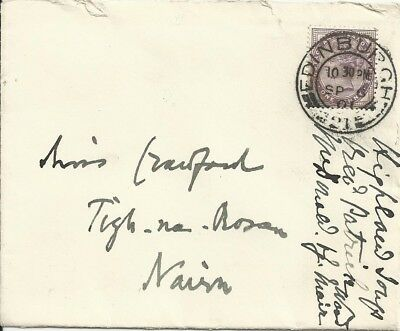 1901 1d Lilac cover, New Club, Edinburgh to Miss Crawford, Nairn. Highland Soup.