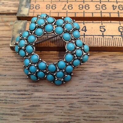 Nice Vintage Turquoise Glass Stone Brooch, Arrow Stamp I Reverse