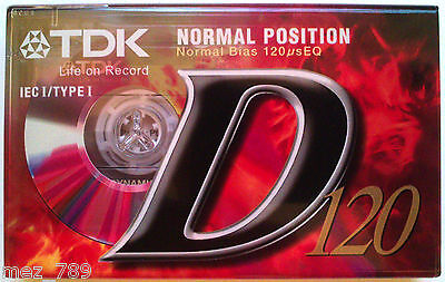 1 x TDK D120 - Blank Audio Cassette Tape - Ferric / Normal Bias | TDK D 120