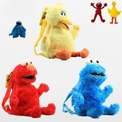 Backpack Sesame Street ELMO COOKIE MONSTER Plush BIG BIRD Shoulders Bag Doll TOY