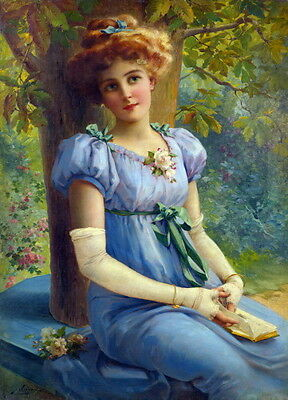 c1915 E.Vernon~Spring~Sweet Pretty Girl in Blue Dress~Reading BookNEW Note Cards