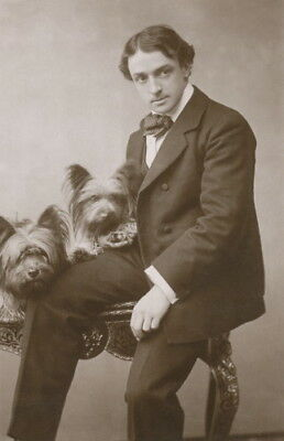 1906 Antique Photo~Man & His Two Skye Terrier Puppy Dogs~NEW Large Note Cards
