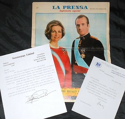 Lord Denning & Chapman Pincher Signed Letters King & Queen Of Spain Newspaper