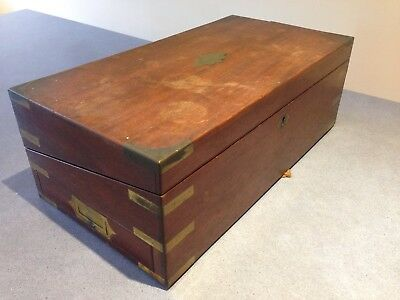 Antique Mahogany Military Campaign Writing Box with Brass inlay
