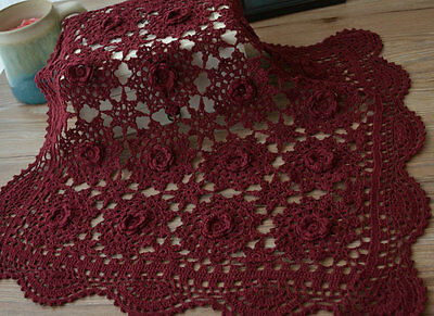 "20"" Square Crochet Lace Burgundy Doily French Country Floral Table Cloth Topper"