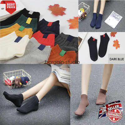MEN WOMEN 5 Pairs COLOR Thick Thermal Warm Ankle Socks Trainer Liner Ankle Socks