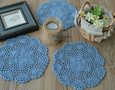 """8"""" Round Sky Blue Hand Crochet Doily French Country Floral Cotton Coaster"""