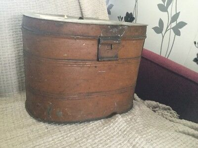 Antique Tin Metal Hat Deeds Box - Possibly Victorian