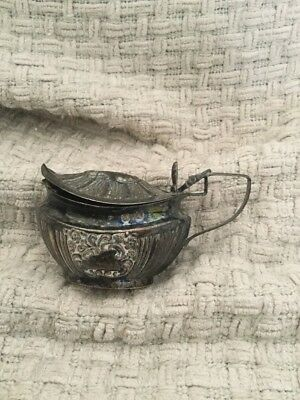 Antique Solid Silver Mustard Pot With Blue Glass Liner, Possibly Chester 1901