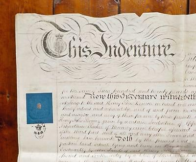 1848 Hogsthorpe Mumby Chapel Lincolnshire Vellum Deed Indenture hand drawn Plan