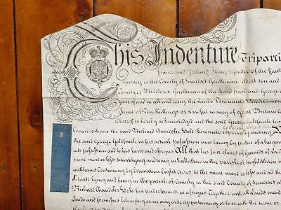 1756 Somerset Georgian Vellum Document Indenture Deed to lead Uses of a Recovery