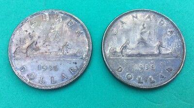 Canada 1936 And 1938 Canada Silver Dollar Coin Lot. - Silver. Free Shipping
