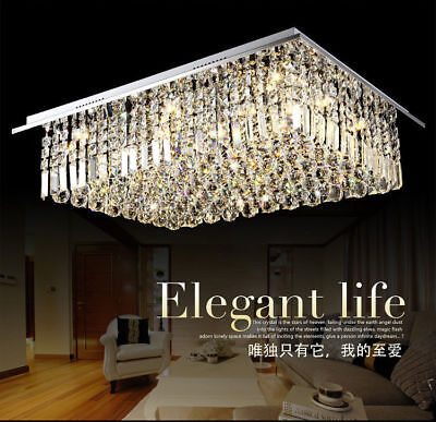 New Modern Remote rectangular LED crystal Celing lamp room Rain Drop light