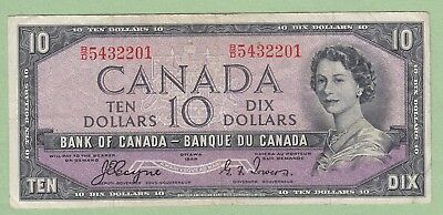 1954 Bank of Canada 10 Dollar Note Devil's Face -Coyne/Towers - B/D5432201- Fine