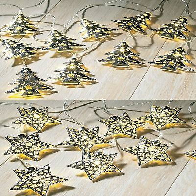 15 White Led Tree / Stars Silver Metal Battery Operated Fairy String Lights