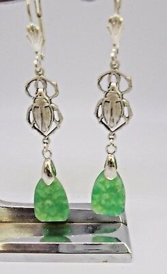 Egyptian Revival  Art Deco Scarab & Vintage  Green Carved Glass Bridal Jewellery
