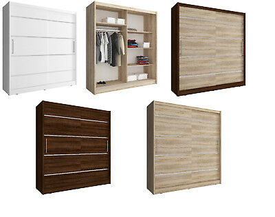 MAJA MODERN BEDROOM SLIDING DOOR WARDROBE WHITE LIGHT OAK DARK BROWN (180cm)