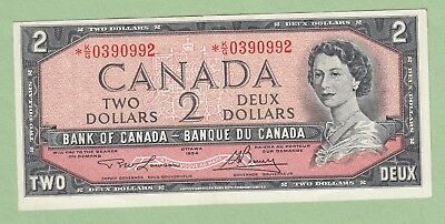 1954 Bank of Canada 2 Dollar Replacement Note - Lawson/Bouey -*K/G0390992 - AU