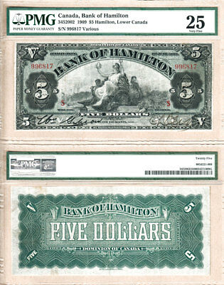 NO RESERVE AUCTION: Bank of Hamilton 1909 $5. Beautiful Large Note. PMG VF25
