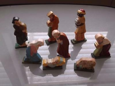 VINTAGE ORIGINAL HAND CARVED WOOD Nativity CRECHE FIGURES  (8) HAND PAINTED