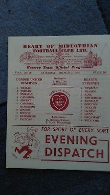 Heart Of Midlothian v Dundee United 1949/50 reserves  *  see item description *
