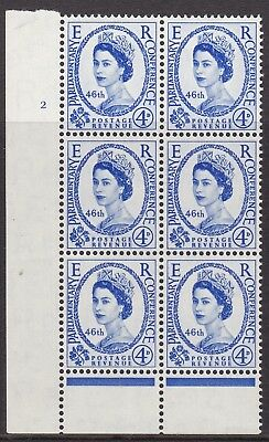 Gb 1957 Parliamentary Conference 4D Cylinder Block Of Six, Unmounted Mint