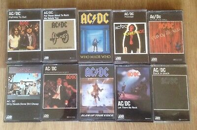 Lot 10 Cassettes  Tape AC/DC,Heavy Rock,Acdc,Metallica Iron Maiden Casete