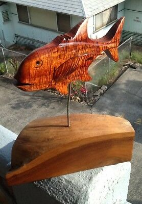 Hawaiian Koa Wood Sculpture ULUA Fish On Milo Block- Local Artist-INCREDIBLE!