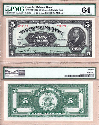 NO RESERVE AUCTION:  Beautiful Note... Molsons Bank 1922 $5. Strict PMG CH UNC64